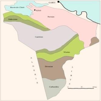 Carte de subsurface de la répartition du Paléozoïque